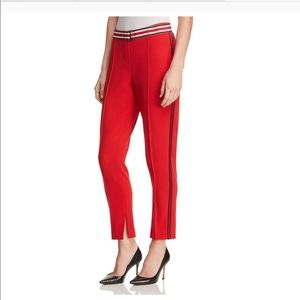 T Tahari Red Slim Leg Pants with Side Stripe